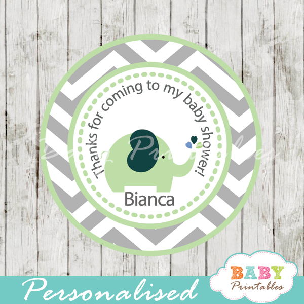 personalized lime green elephant baby shower tags