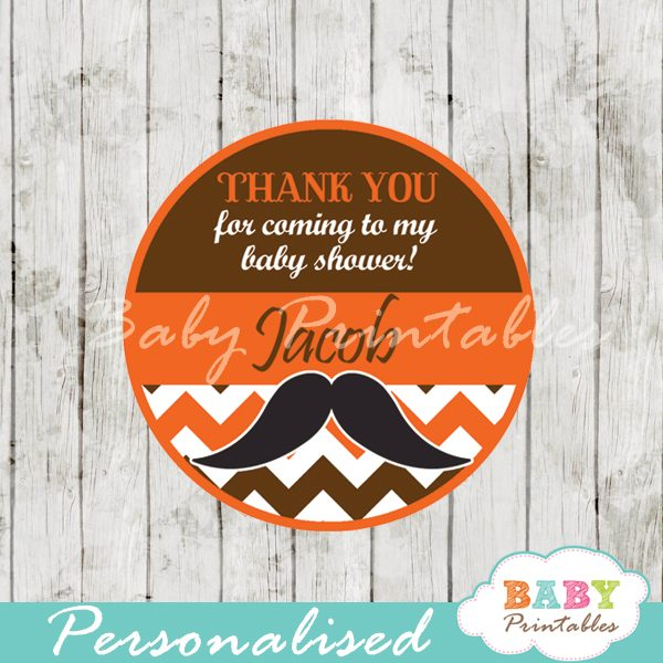 printable personalized Mustache Baby Shower Favor stickers