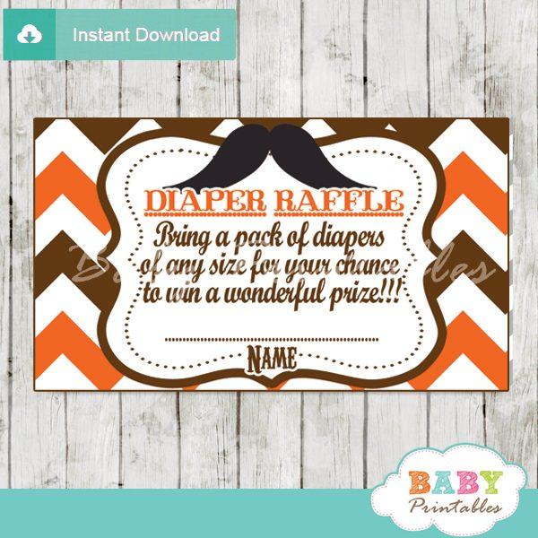 printable mustache orange chevron diaper raffle tickets