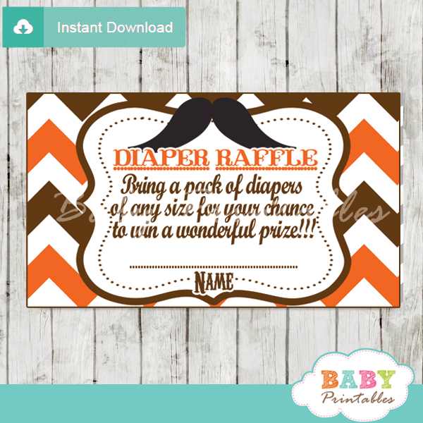 printable mustache orange chevron diaper raffle tickets