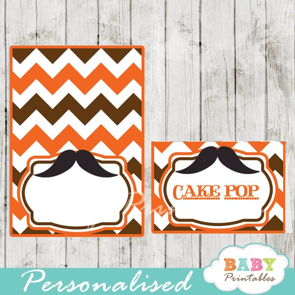 printable mustache food labels