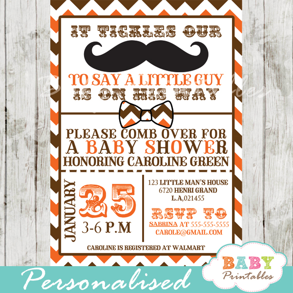 Orange brown mustache baby shower invitation card d111 baby little man mustache bash baby shower invitations filmwisefo