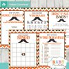 orange brown printable mustache baby shower fun games ideas