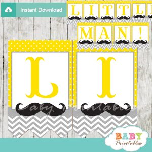printable mustache little man banner yellow gray