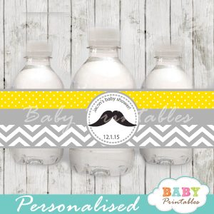 yellow diy Printable Mustache Water Bottle Labels