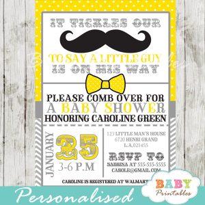 yellow little man mustache bash baby shower invitations