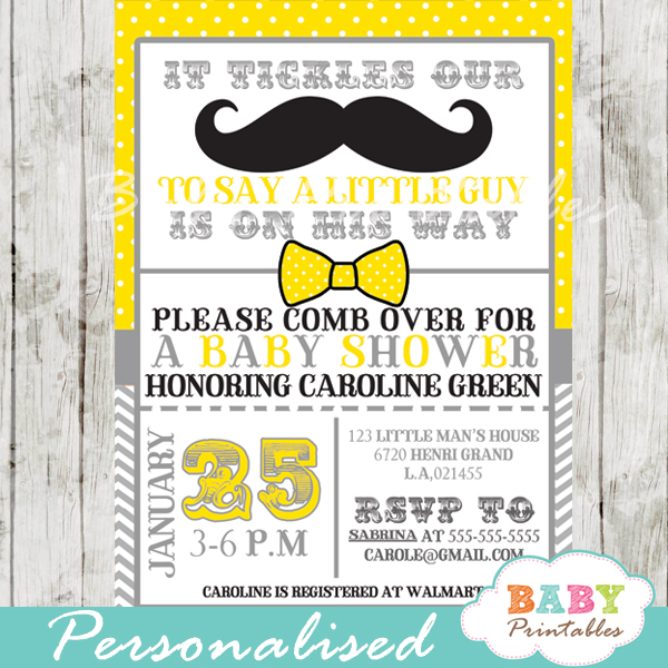Invitations page 10 of 10 baby printables yellow grey mustache baby shower invitation card d112 filmwisefo