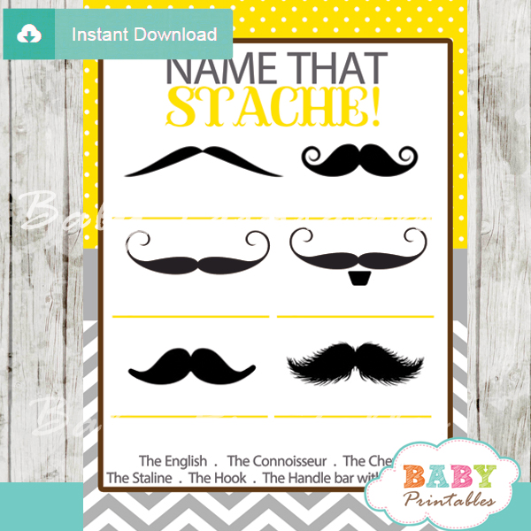 yellow name that mustache baby shower game printable