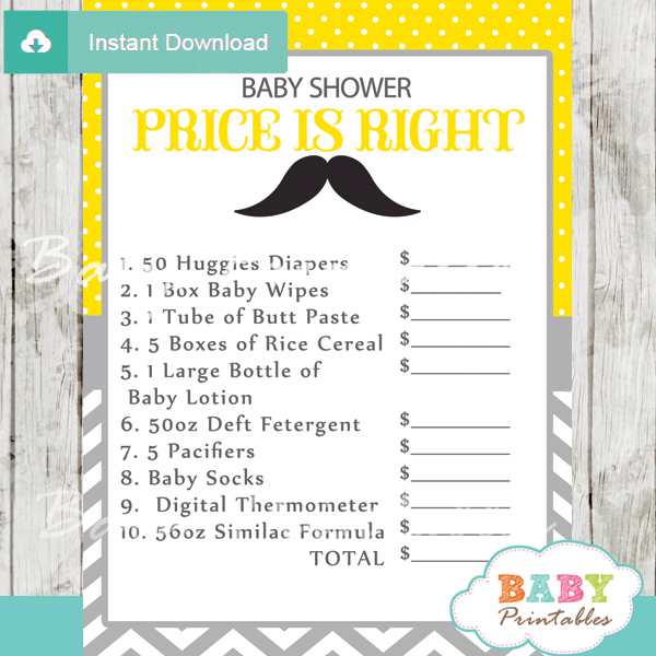 Yellow Grey Mustache Baby Shower Games Bundle D112 Printables ...