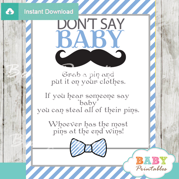 Blue Grey Mustache Baby Shower Games Bundle - D113 - Baby Printables