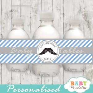 blue diy Printable Mustache Water Bottle Labels