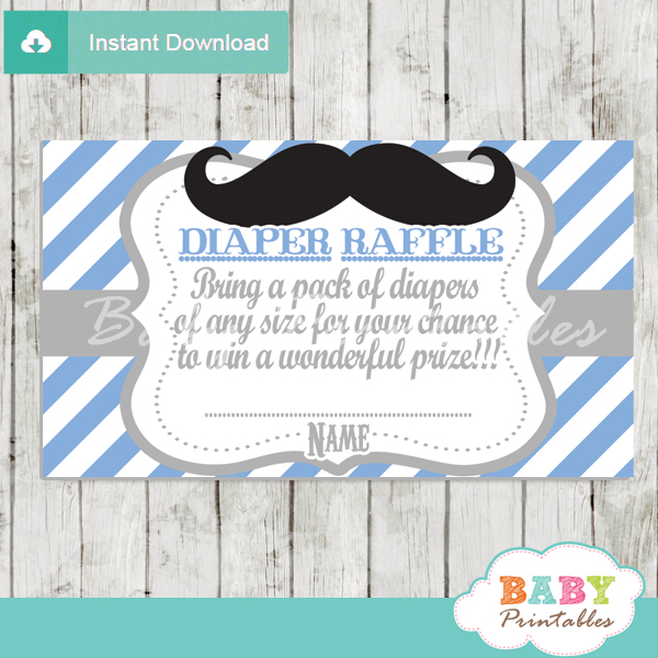 printable mustache blue chevron diaper raffle tickets