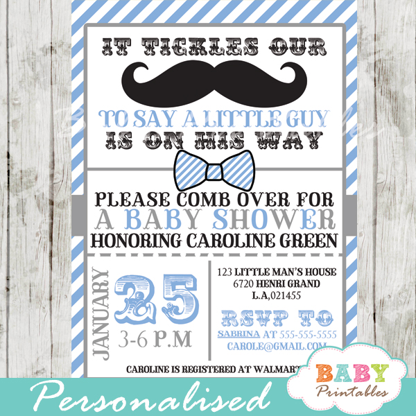 Blue Grey Mustache Baby Shower Invitation Card D113