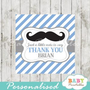 blue printable custom mustache baby shower gift labels