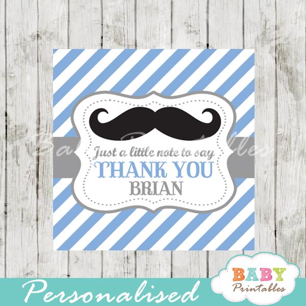 blue printable custom mustache baby shower gift labels