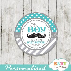 printable turquoise grey baby shower theme gift tags