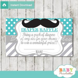 printable mustache turquoise chevron diaper raffle tickets