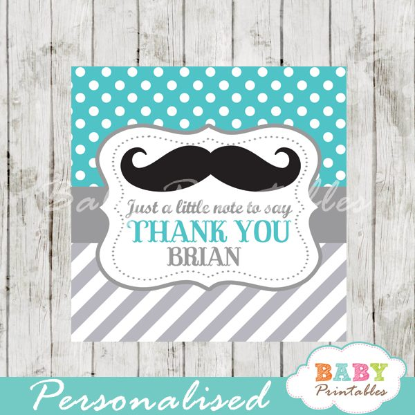 turquoise printable custom mustache baby shower gift labels
