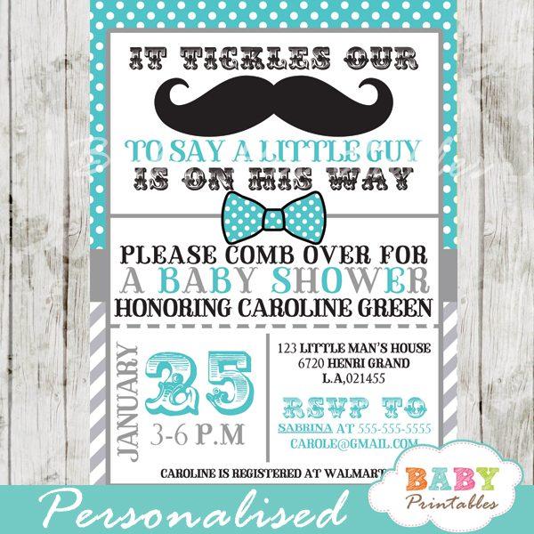 printable turquoise grey baby shower theme invitation