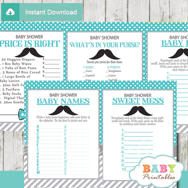 printable turquoise gray mustache baby shower games package