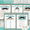 printable blue brown mustache baby shower games package