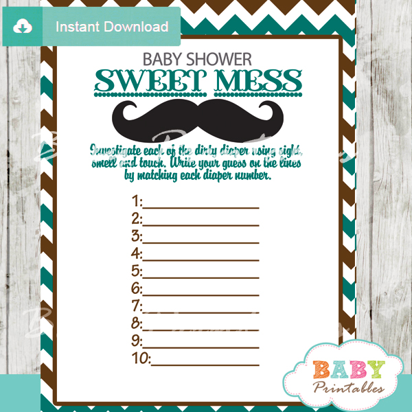 Blue Brown Mustache Baby Shower Games D115 Baby Printables