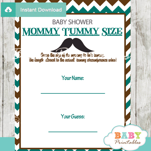 Blue Brown Mustache Baby Shower Games Bundle - D115 - Baby ...