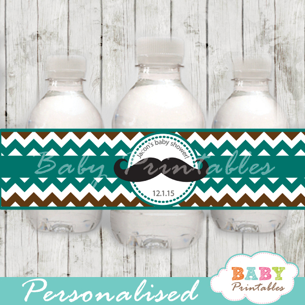 blue brown diy Printable Mustache Water Bottle Labels personalized