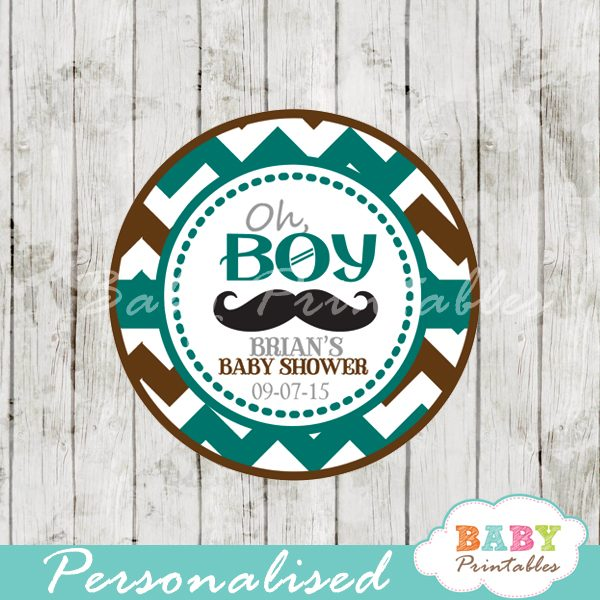 printable blue brown baby shower theme gift tags