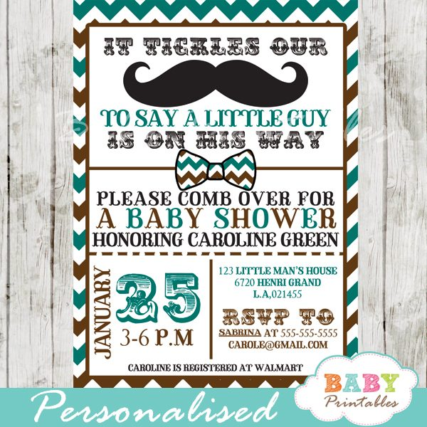Blue Brown Mustache Baby Shower