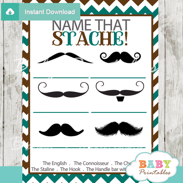 printable blue and brown name that mustache baby shower game