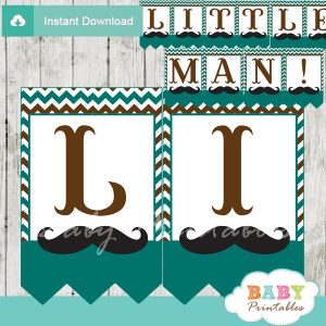 printable mustache little man banner blue brown