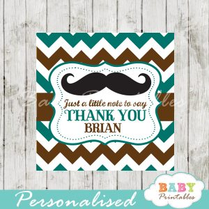 blue and brown printable custom mustache baby shower gift labels
