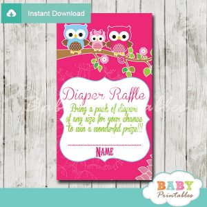 hot pink owl family printable diaper raffle tickets cards
