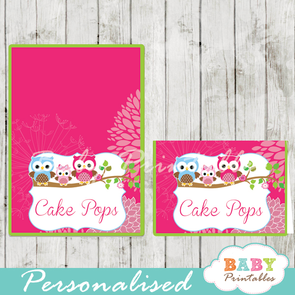 fushia owl family printable food label cards for baby shower