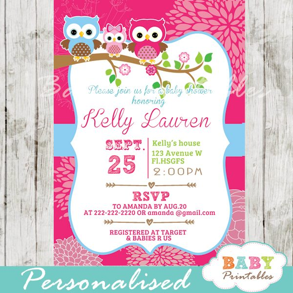 personalized hot pink owl family baby shower invitation printable