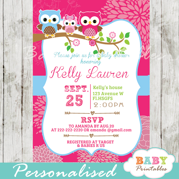 Hot pink owl family baby shower invitation card d120 baby printables personalized hot pink owl family baby shower invitation printable filmwisefo