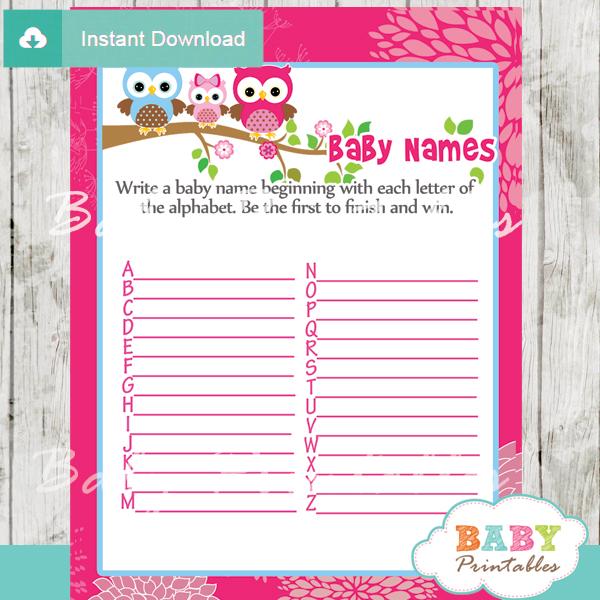 owl printable Baby Name Race Baby Shower Game