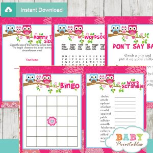 printable hot pink owl baby shower games package