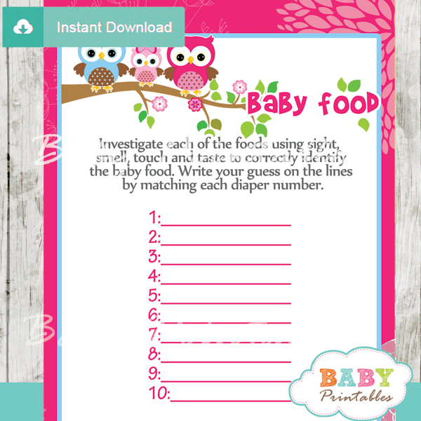 Hot Pink Owl Family Baby Shower Games Bundle - D120 - Baby Printables