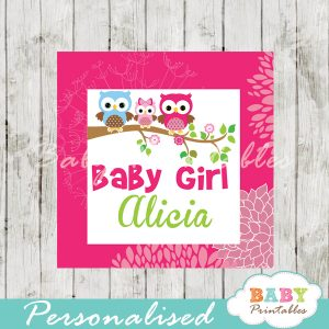 floral hot pink owl printable custom baby shower gift labels