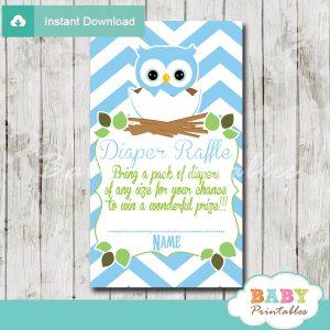 blue owl printable diaper raffle tickets