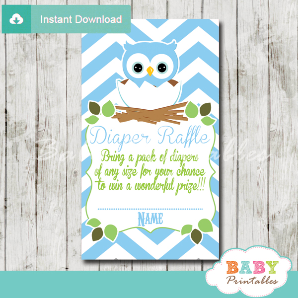 blue owl printable diaper raffle tickets