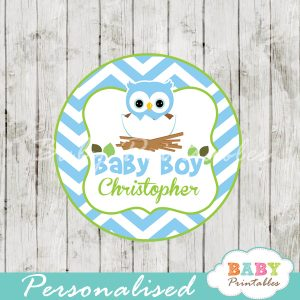 printable blue owl custom baby shower gift tags