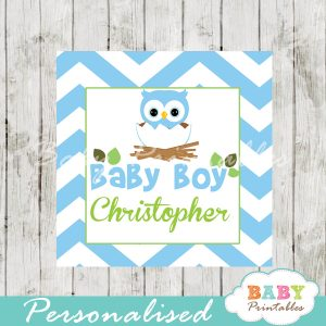 blue owl printable custom baby shower gift labels