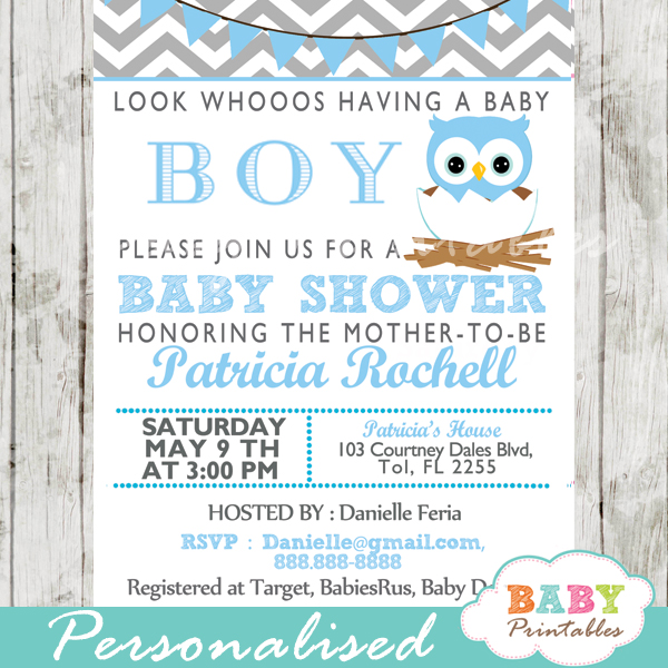 personalized teal blue owl baby shower invitation printable