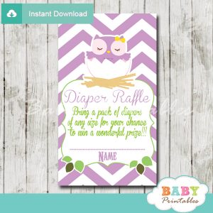 purple owl printable diaper raffle tickets