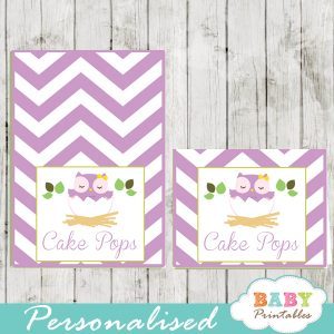 custom purple owl printable food labels for baby shower