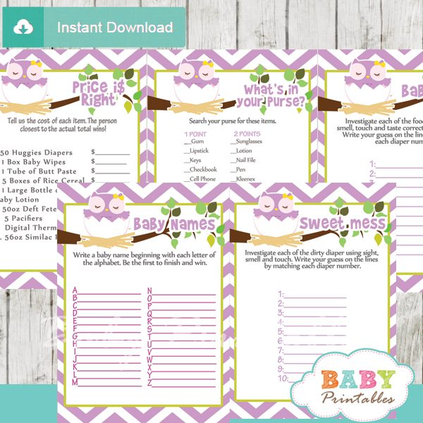 purple printable owl baby shower fun games ideas