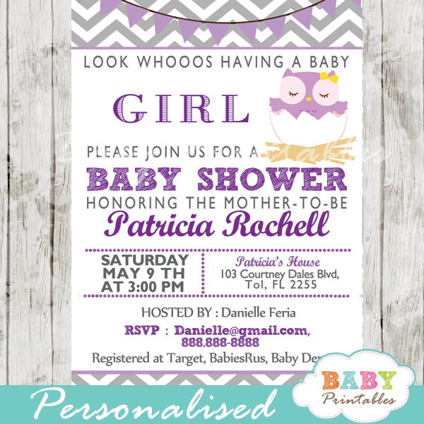 Purple owl baby shower invitation card d122 baby printables personalized lavender purple owl baby shower invitation printable filmwisefo